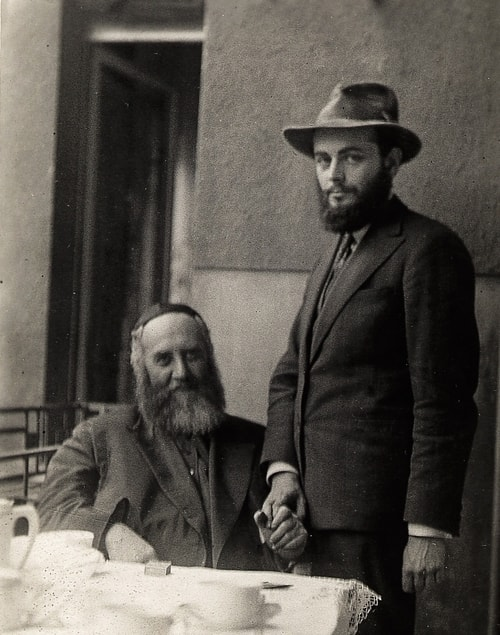 The Rebbe with his father-in-law, the Previous Rebbe.