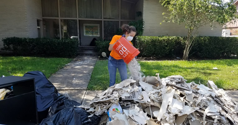 Leah Sherman, a native of Memphis, Tenn., who is majoring in bioengineering at Rice University in Houston has been volunteering with a group from Chabad on Campus all week long.