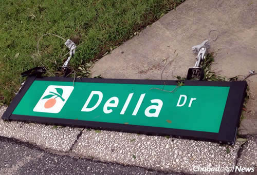 A street sign in Orlando blew right off its metal base.