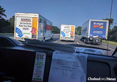 The convoy of five trucks landed in Houston on Monday.