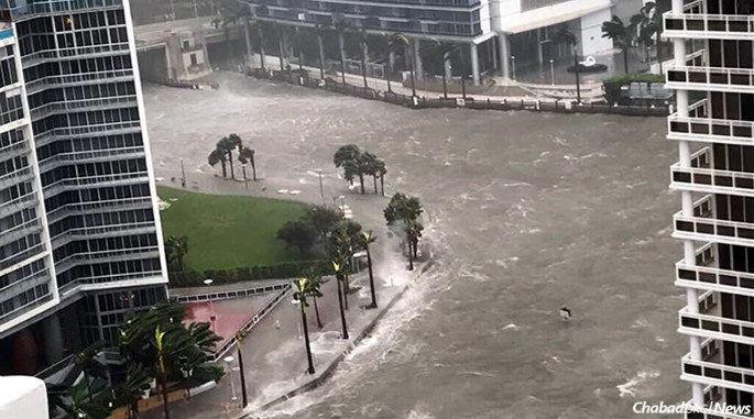 A storm surge from Hurricane Irma created a virtual river in downtown Miami and the financial district, which has since started to recede.