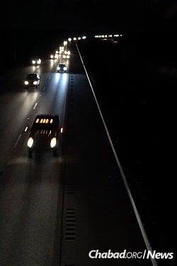 Evacuting parts of Florida on Wednesday night (Photo: Chavi Konikov/Chabad.org)