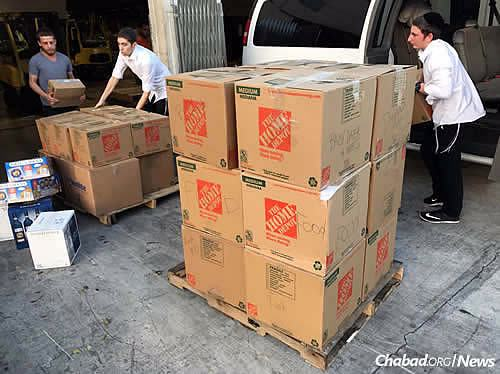 Boxes of goods came from Houston to St. Thomas via Puerto Rico, which is now in the eye of the next hurricane: Maria.