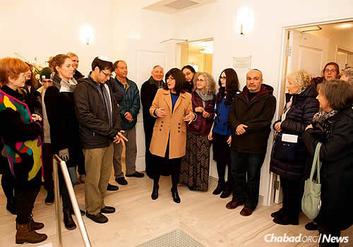 Chani Kaplan gives a tour of the mikvah.