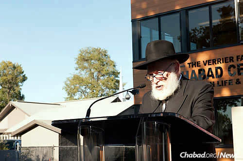 Rabbi Yehuda Krinsky, chairman of Merkos L'Inyonei Chinuch, the educational arm of the Chabad-Lubavitch movement, served as keynote speaker of the 2016 grand opening..