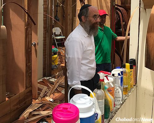 Offering household supplies to tackle cleanup.