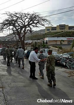 Federman greets members of the Virgin Islands National Guard stationed there.