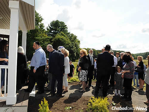 Entering the Chabad House, which sits adjacent to a 54-acre nature preserve.