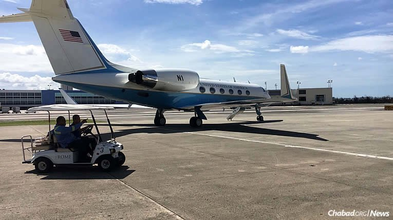 Chartered planes filled with food, water, medical items and cleaning supplies have come to Puerto Rico, organized by Chabad-Lubavitch representatives and headed for Chabad of Puerto Rico, co-directed by Rabbi Mendel and Rachel Zarchi. A slew of volunteers are working to meet the basic demands of residents in San Juan and other parts of the island, which was devastated by Hurricane Maria.