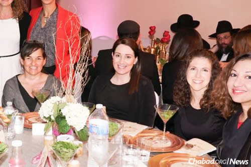 Natalie Grumet, second from left, at a bat mitzvah party in March at the Chabad Jewish Center of Laguna Niguel, Calif.