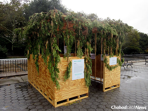 The sukkah at the East River Esplanade at East 84th Street (Photo: Howard Blas)