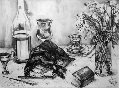 Artwork displaying a Shabbat meal