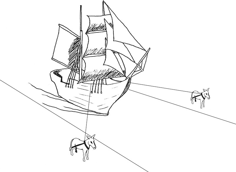 Fig. 5: A Ship Pulled by Draft Animals