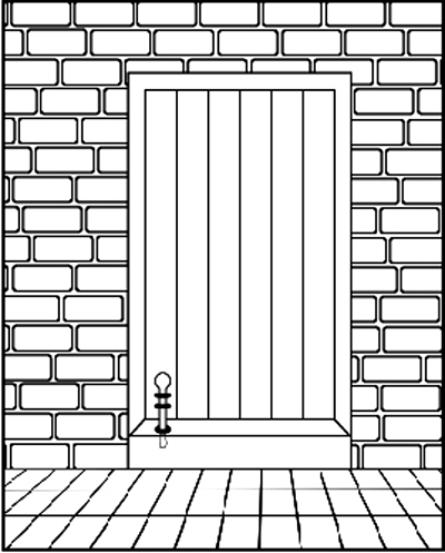Fig. 12 and 13: A peg with a bulbous head that is attached to a door