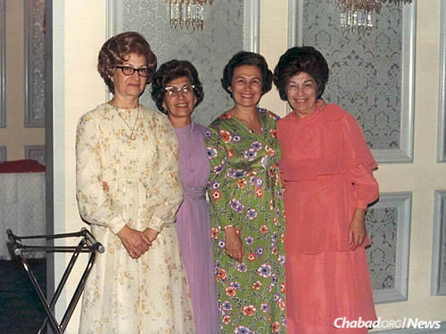 With her sisters: Chava Shusterman, Yocheved Goldberg and Rivka Hecht