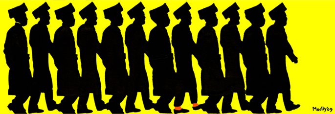 """""""Orange Socks"""" fills an entire wall of a gallery in Jerusalem, from floor to ceiling, and depicts the life-size silhouettes of 12 Chassidim, one of whom shows a flash of color. The artwork, by Rabbi Yitzchok Moully, is on display in the curated group show """"Popthodox-Black Humor"""" until Nov. 16 as a part of the Third Jerusalem Biennale. (Art: Yitzchok Moully)"""