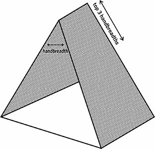 Fig. 28: A tent with a span of a handbreadth within its three uppermost handbreadths