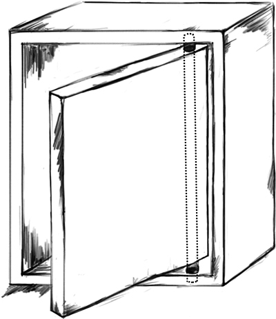 Fig. 17: A closet door that revolves on two hinges