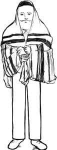 Fig. 3: A permitted manner in which one may wrap himself in a tallis