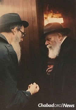 Block, left, with the Lubavitcher Rebbe, Rabbi Menachem M. Schneerson, of righteous memory