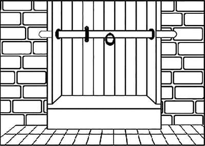 Fig. 14: A movable bolt whose ends can be inserted into either side of the wall