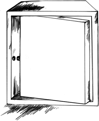 Fig. 18: The door of a storage unit with a hinge at its midpoint