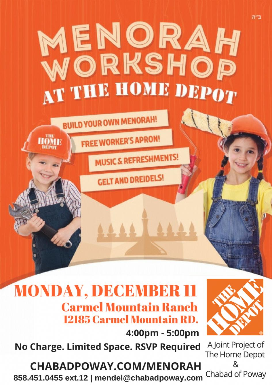 home depot menorah workshop monday dec 11 2017