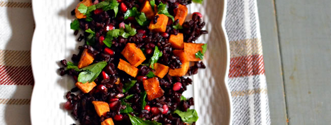 Cook It Kosher: Warm Fall Salad: Black Rice with Sweet Potato, Parsley, & Pomegranate