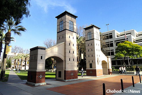 Rabbi Shaya and Brochy Bernstein co-direct the Chabad Student Center at San Jose State University in California. Pictured is the Boccardo Gate on campus. (Photo: Wikimedia Commons)