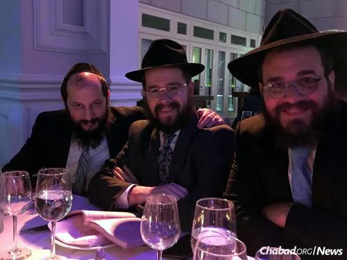 From left: Brothers-in-law Vigler, Rabbi Moshe Schapiro and Rabbi Yossi Kaplan