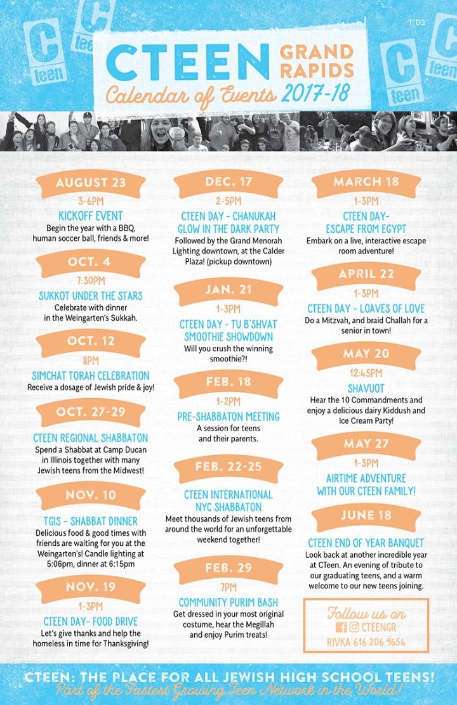 Calendar Of Events : Cteen calendar of events  chabad western michigan