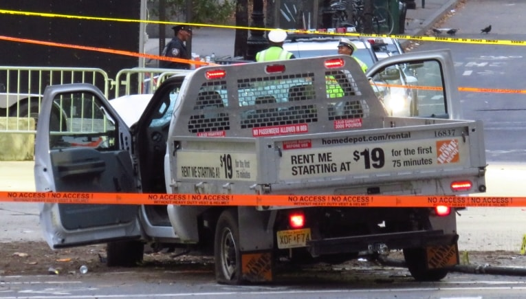 The truck driven into a crowd on Oct. 31 in Lower Manhattan, resulting in the deaths of eight people. (Photo: Wikimedia Commons)