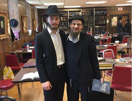 Yeshiva friends Yaphet from Phoenix, Arizona, and Joshua from Milwaukee, Wisconsin, in the main study hall