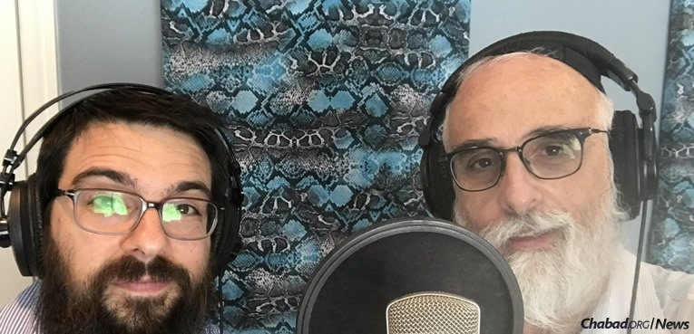 "Rabbi Ruvi New, right, co-director of Chabad of East Boca Raton, Fla., and a sought-after teacher and speaker, fulfilled a lifelong dream by making ""Storm the World,"" an album featuring 12 original compositions. He's pictured here with producer Bentzi Marcus."