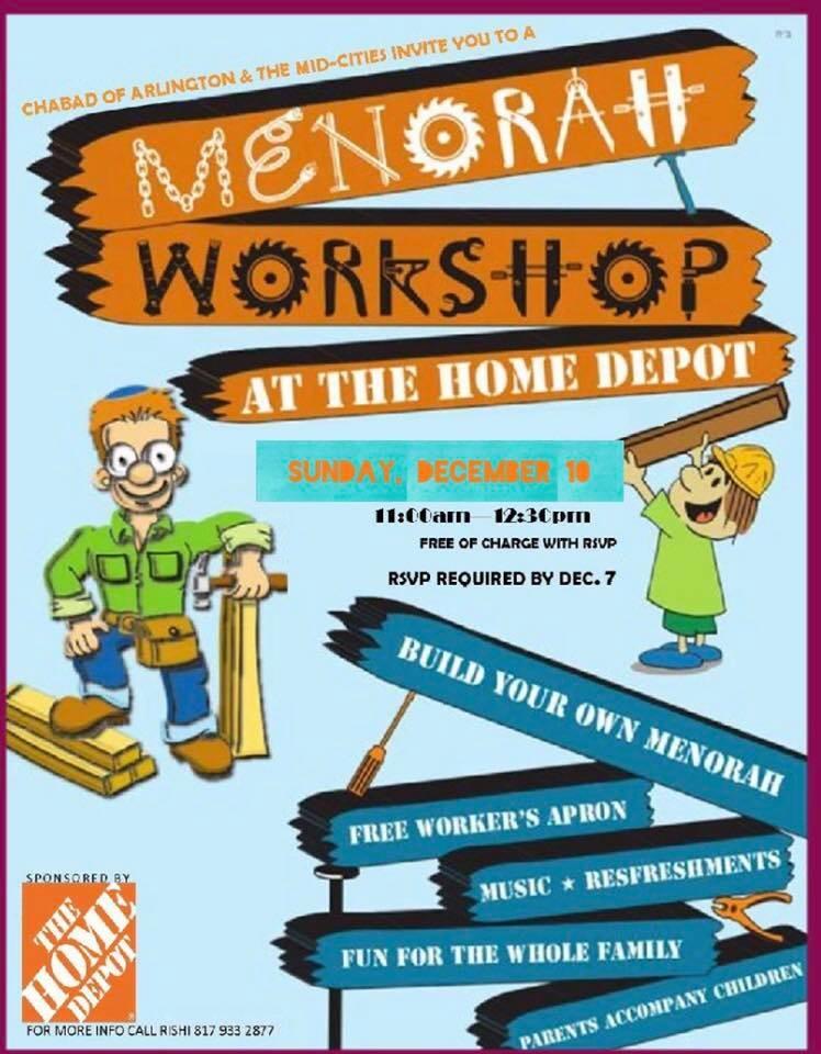 Home Depot Menorah Workshop 2017 Chabad Of Arlington The Mid Cities