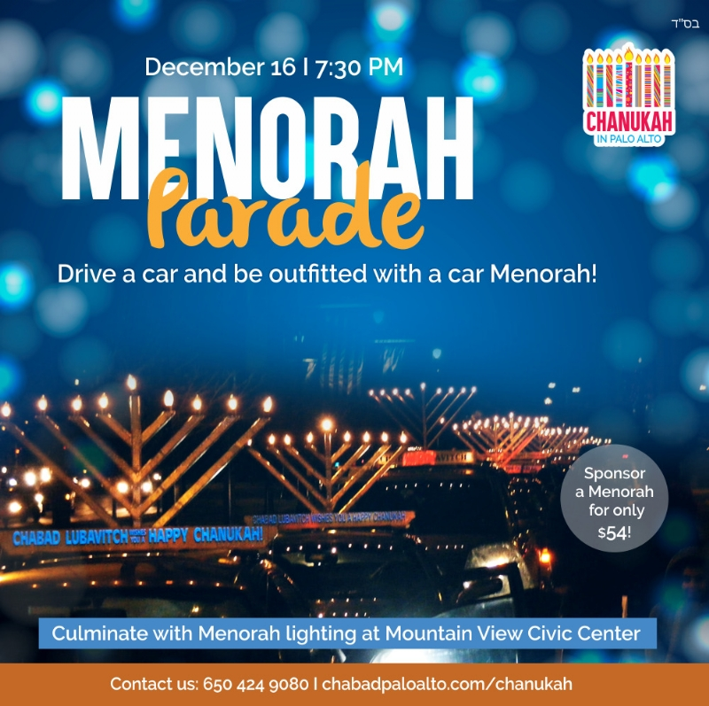 Menorah parade 7:30PM