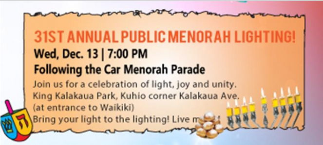 Public Menorah Lighting - Chabad of Hawaii