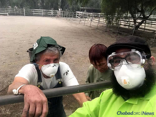 Rabbi Mordechai Nemtzov, co-director of Chabad of Ojai Valley, delivers face masks to residents who run one of the many horse ranches in the area.