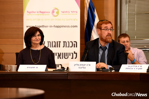 "Susan Barth, founder and director of B'Yachad B'Osher, the ""Together in Happiness Center for Marriage Education,"" and Knesset Member Yehuda Glick (Photo: Eden Video)"
