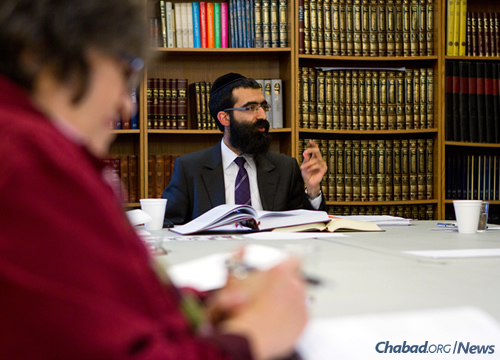 Rabbi Binyomin Bitton, above, has led the dedicated students who have spent Mondays learning Tanya, the central text of Chabad chassidus. (Photo: Noam Dehan)