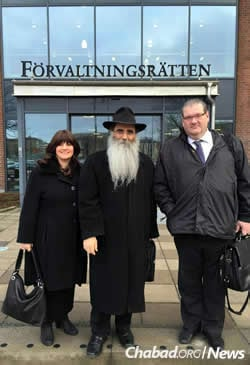 Rabbi Alexander and Leah Namdar, co-directors of Chabad Lubavitch Sweden, with their lawyer, Ulf Tollhage of the Nordia Law Firm. The couple has been involved in an ongoing legal battle for the right to homeschool their four youngest children.