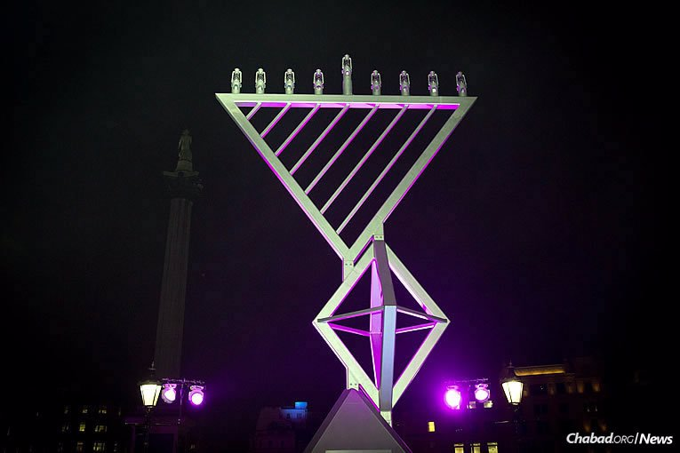 This is the 10th year that the giant menorah has stood at Trafalgar Square, organized by Chabad, the Jewish Leadership Council and the London Jewish Forum, and supported by the Mayor's Office of London. Here it is on Tuesday, Dec. 12, the first night of the eight-day holiday of Chanukah. (Photo: Mayor's Press Office of London)