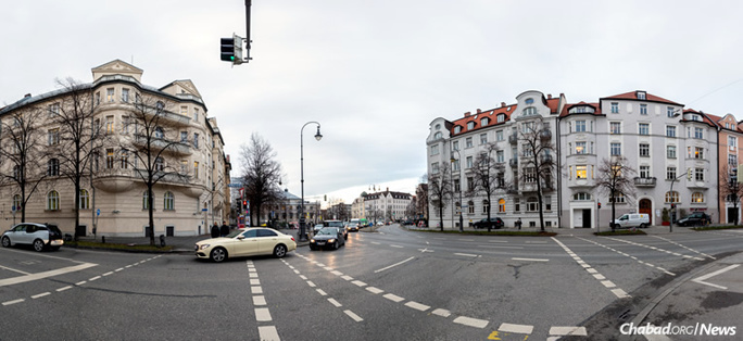 The Chabad center in Munich, Germany, sits directly across the street from the nine-room luxury apartment at Prinzregentenplatz 16, left, which became home to Adolf Hitler in 1929.