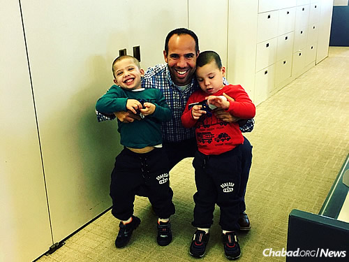 """Matthew Weitz says his sons have already gotten a lot from the program: """"Depending on where you live, it's really easy to do a mitzvah and visit one of the seniors."""""""