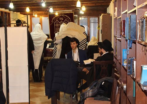 A minyan in the Chabad House.