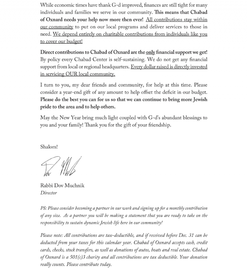 Year End Letter 2017 Chabad of Oxnard