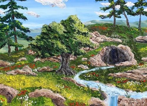 """עץ החרובים של רשב""""י. ציור: יהושע וייסמן"""