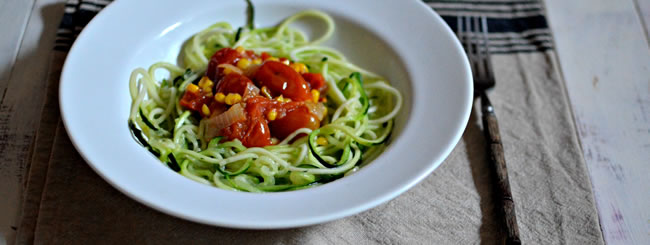 Vegetarian: Zoodles with Vibrant Tomato-Corn Sauce