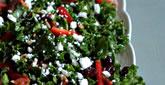 Kale Salad with Roast Sweet Potato, Peppers, Sunflower Seeds and Feta