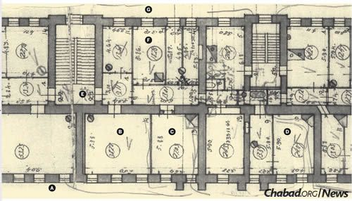 Blueprints of Rabbi Yosef Yitzchak's home, synagogue and headquarters in Leningrad, annotated based on testimony given by Reb Mendel Morosov, who remembered the home from his childhood. A) Mokhovaya Street, B) Synagogue, C) Rabbi Yosef Yitzchak's study, D) Room of Rebbetzin Chaya Mushka (the Rebbe's wife) and her sister, Rebbetzin Sheina, E) Apartment entrance, F) Rabbi Yosef Yitzchak's son-in-law and daughter, Rabbi Shmaryahu and Chana Gurary's room, G) Inner courtyard. (Photo: Jewish Educational Media/Early Years).